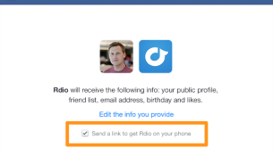 Facebook send to mobile checkbox
