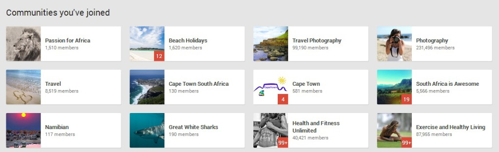 communities in Google+ that you can join
