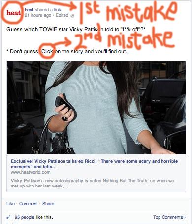 Facebook status update with click-baiting headline
