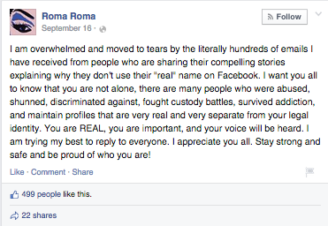 Sister Roma's Facebook post.