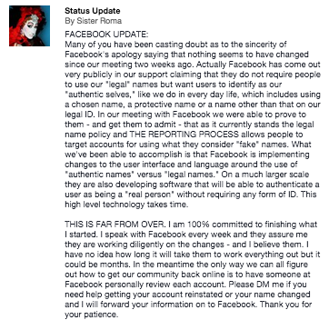 Sister Roma's Facebook post announcing that user's can send her their URL's.