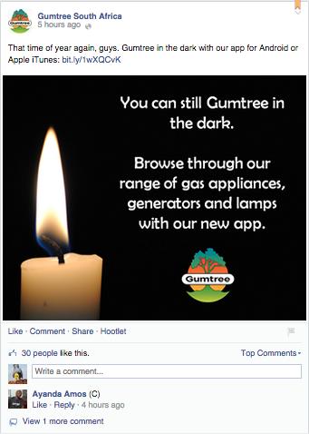 Gumtree's Facebook post.