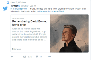 David Bowie remembrance tweet