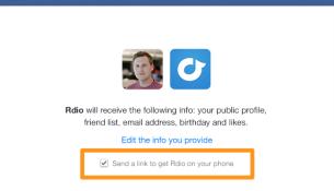 Facebook send to mobile checkbox